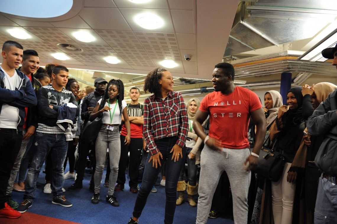 Students dancing at Freshers' Fair 2016