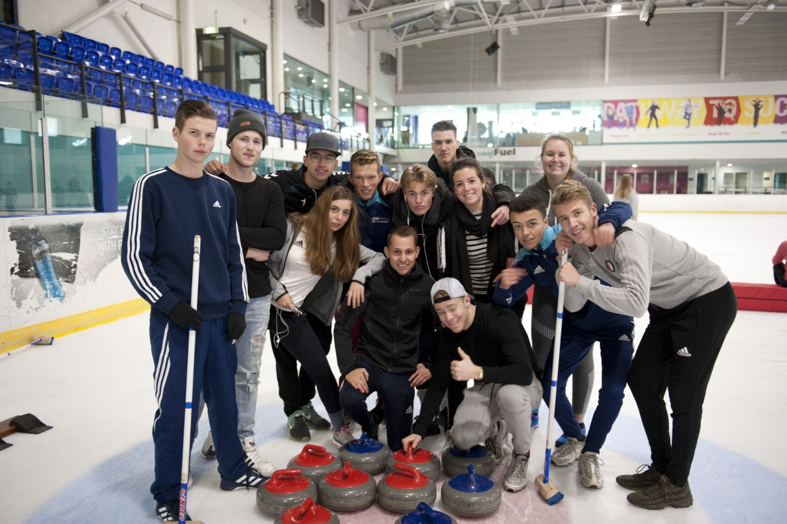 Students from ROC Nijmegen School in Holland try Curling at Ice Sheffield